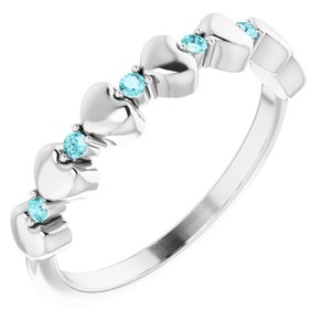 14K White Blue Zircon Stackable Heart Ring