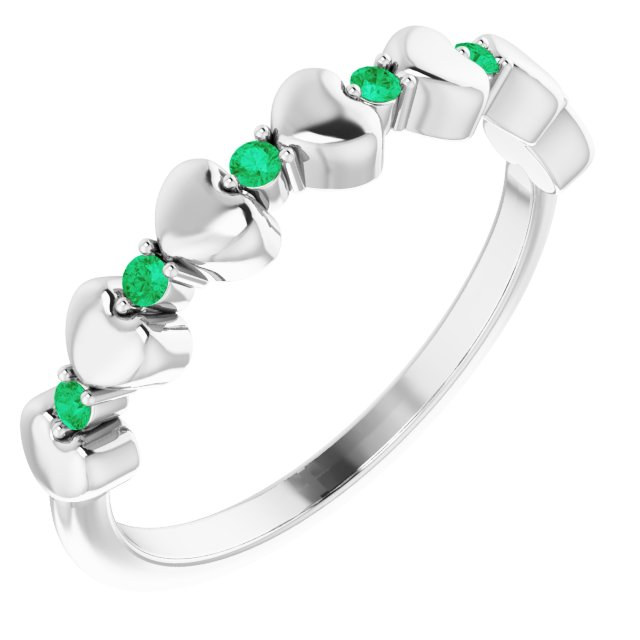 14K White Emerald Stackable Heart Ring