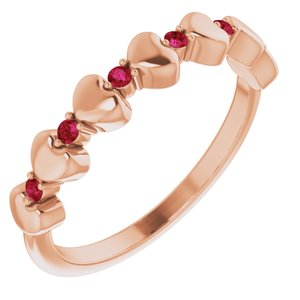 14K Rose Ruby Stackable Heart Ring