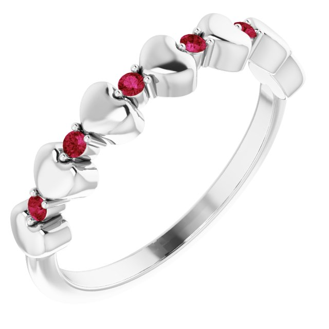 14K White Ruby Stackable Heart Ring