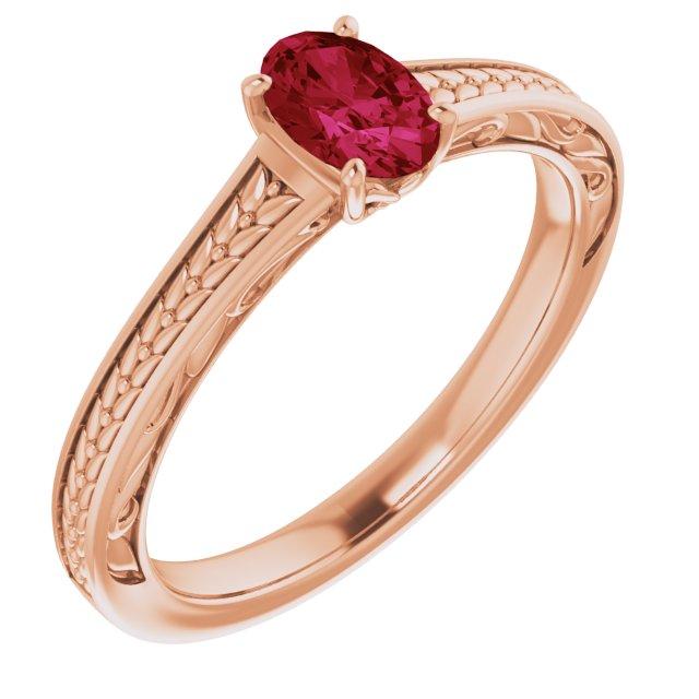 14K Rose Lab-Grown Ruby Ring