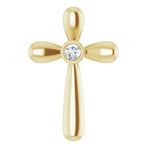14K Yellow .10 CT Diamond Cross Pendant