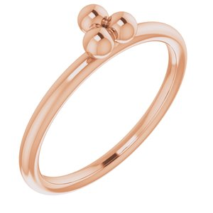 14K Rose Stackable Beaded Ring