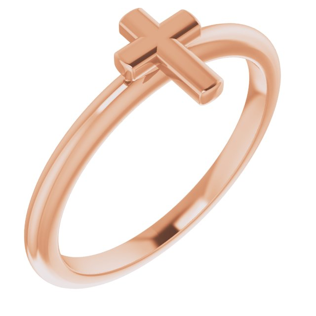 14K Rose Stackable Cross Ring