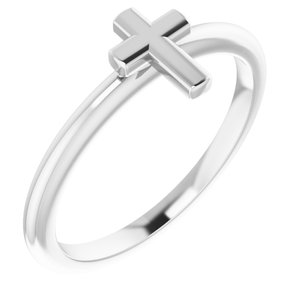 14K White Stackable Cross Ring