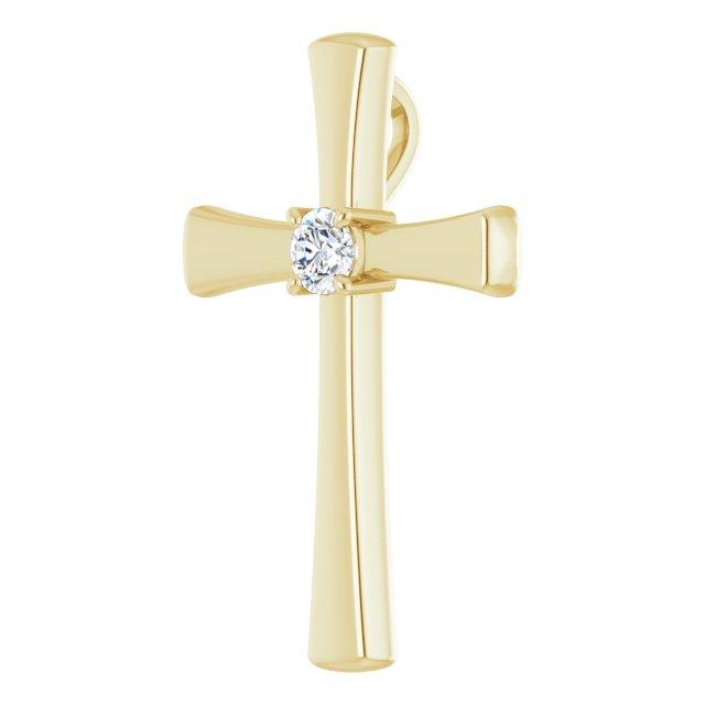 14K Yellow 1/5 CTW Diamond Cross Pendant