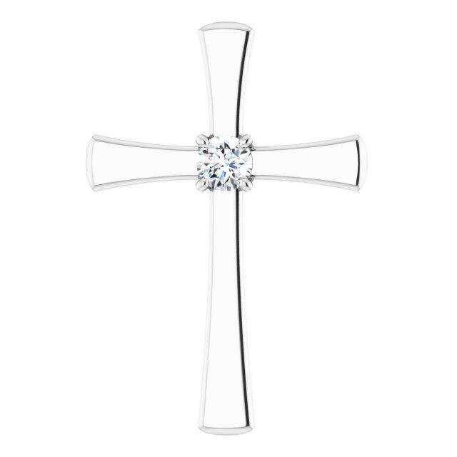 14K White 1/5 CTW Diamond Cross Pendant