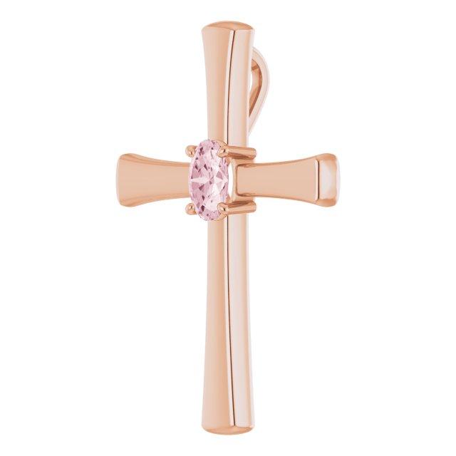 14K Rose Morganite Cross Pendant