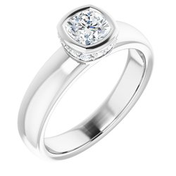 Bezel-Styled Engagement Ring with Accents