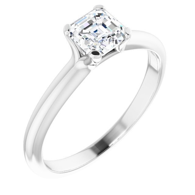 14K White 3/8 CT Diamond Engagement Ring