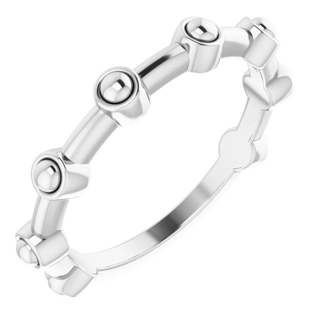 Sterling Silver Beaded Bar Ring