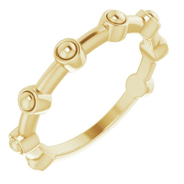 14K Yellow Beaded Bar Ring