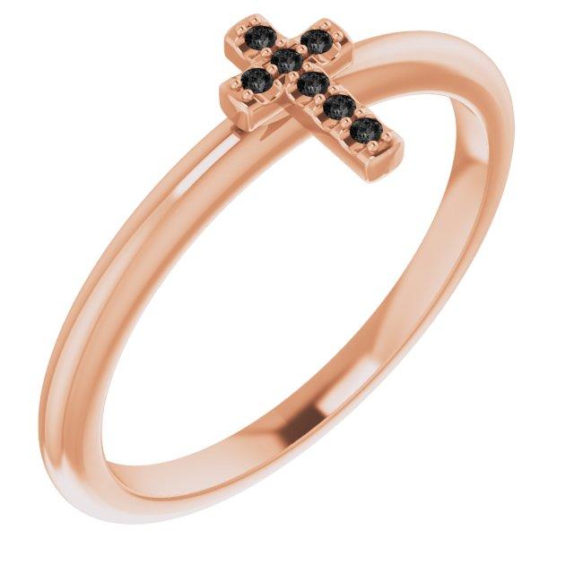 14K Rose .03 CTW Black Diamond Stackable Cross Ring