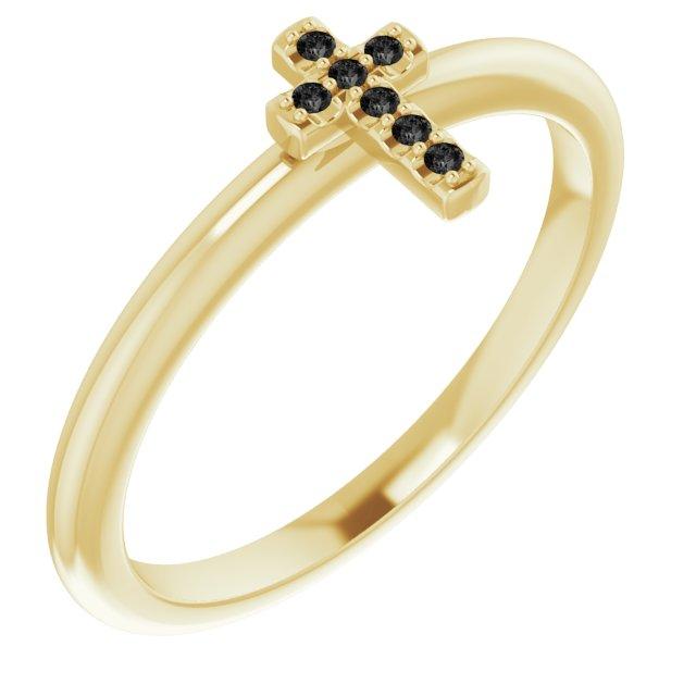 14K Yellow .03 CTW Black Diamond Stackable Cross Ring