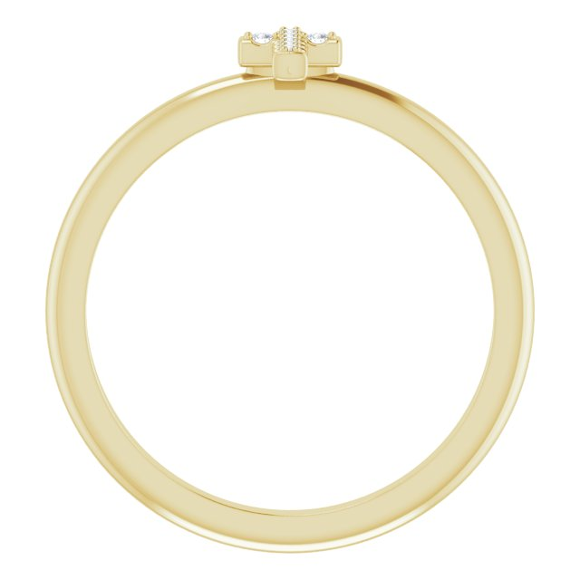 14K Yellow .03 CTW Diamond Stackable Cross Ring