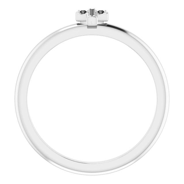 14K White .03 CTW Black Diamond Stackable Cross Ring
