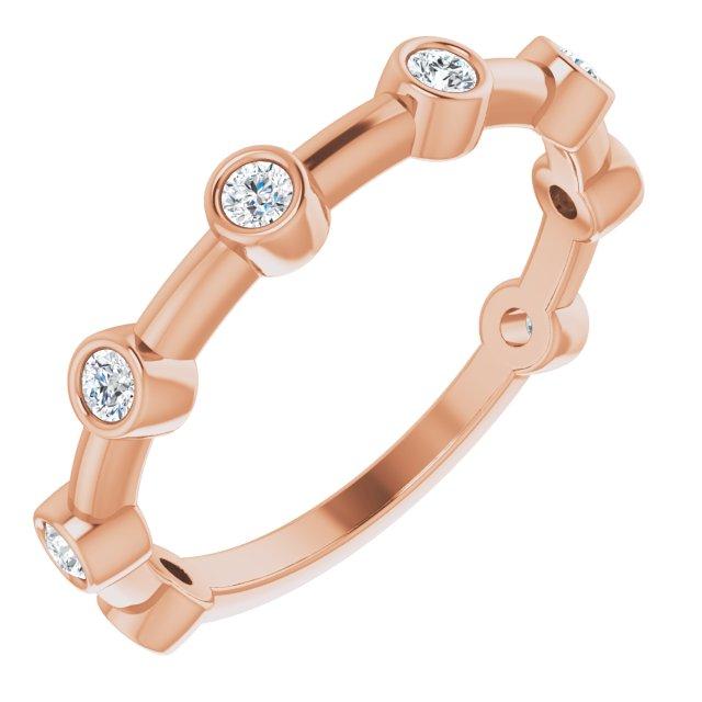 14K Rose 1/4 CTW Diamond Bezel-Set Bar Ring
