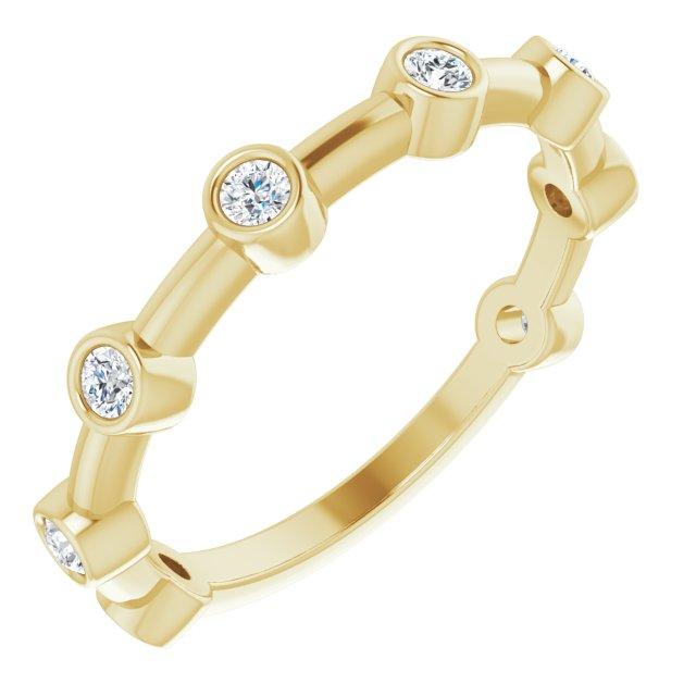 14K Yellow 1/4 CTW Diamond Bezel-Set Bar Ring