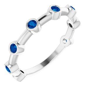 14K White Blue Sapphire Bezel-Set Bar Ring