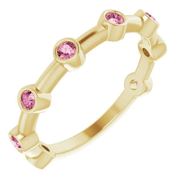 14K Yellow Pink Tourmaline Bezel-Set Bar Ring