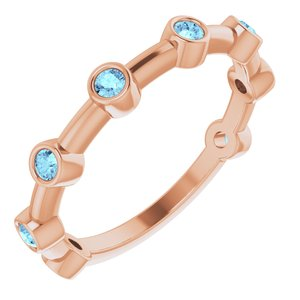 14K Rose Aquamarine Bezel-Set Bar Ring