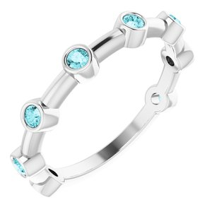 14K White Blue Zircon Bezel-Set Bar Ring