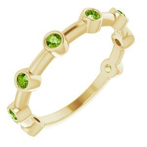14K Yellow Peridot Bezel-Set Bar Ring