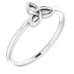14K White Stackable Celtic-Inspired Trinity Ring