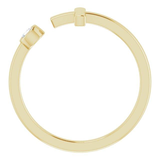 14K Yellow .06 CTW Diamond Negative Space Cross Ring