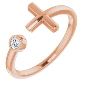14K Rose .06 CTW Diamond Negative Space Cross Ring