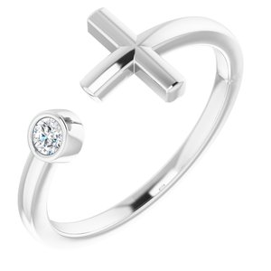 14K White .06 CTW Diamond Negative Space Cross Ring