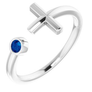 Sterling Silver Chatham® Created Blue Sapphire Negative Space Cross Ring