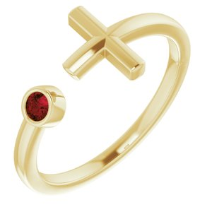 14K Yellow Mozambique Garnet Negative Space Cross Ring