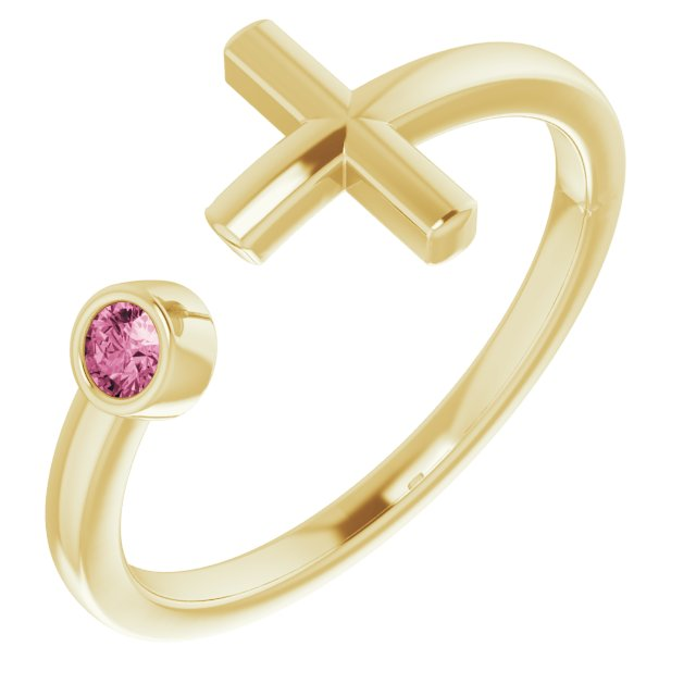 14K Yellow Pink Tourmaline Negative Space Cross Ring