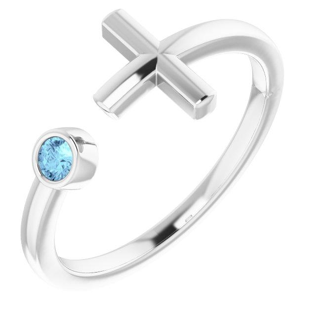 14K White Aquamarine Negative Space Cross Ring