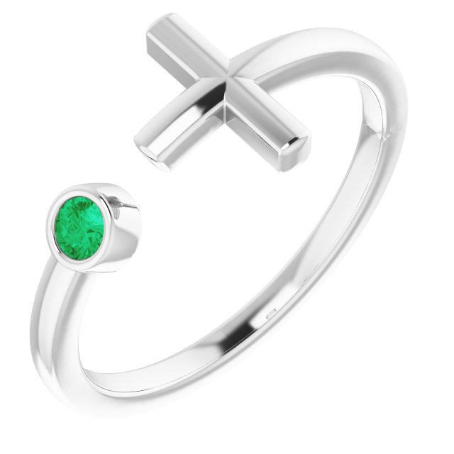 14K White Chatham® Created Emerald Negative Space Cross Ring