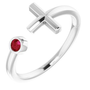 Sterling Silver Chatham® Created Ruby Negative Space Cross Ring