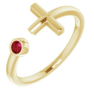 14K Yellow Lab-Grown Ruby Negative Space Cross Ring