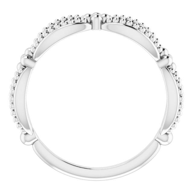 14K White Beaded Stackable Ring