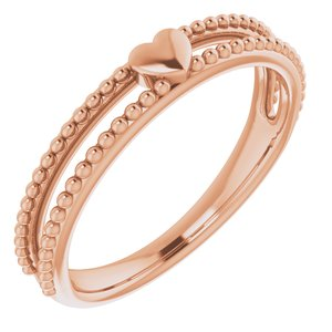 14K Rose Milgrain Stackable Heart Ring