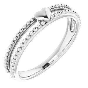 14K White Milgrain Stackable Heart Ring