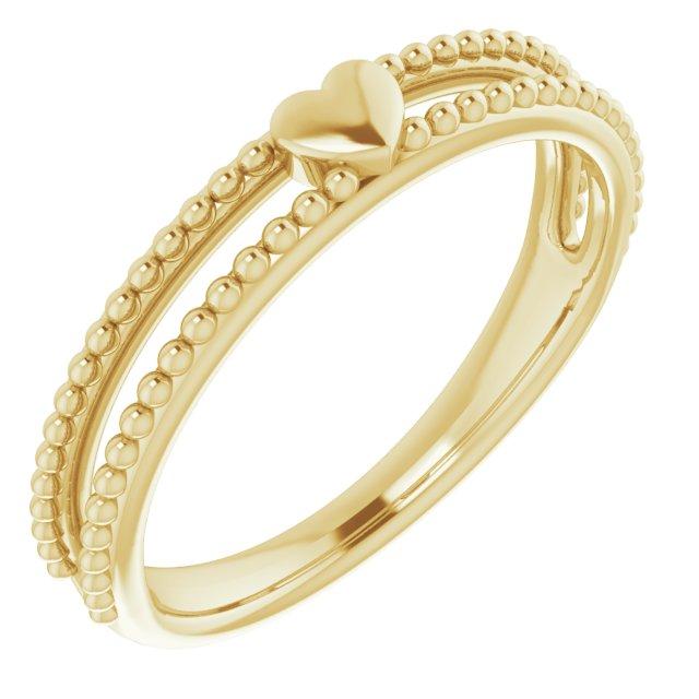 14K Yellow Milgrain Stackable Heart Ring