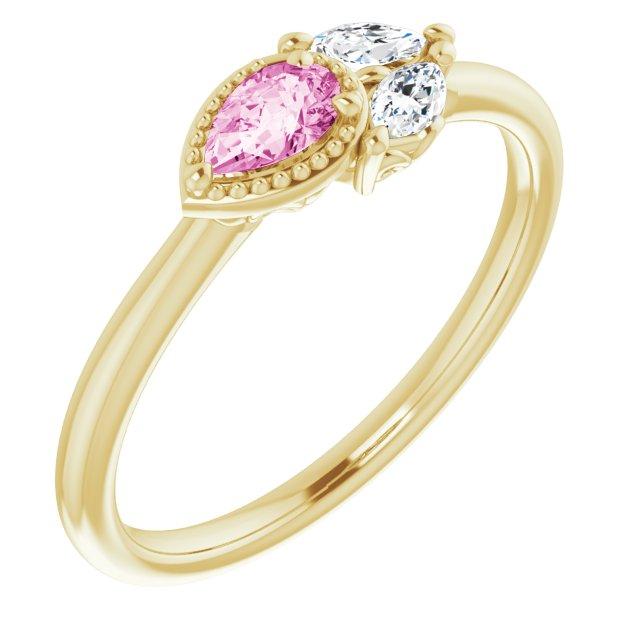 14K Yellow Pink Sapphire & 1/8 CTW Diamond Ring