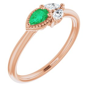 14K Rose Chatham® Created Emerald & 1/8 CTW Diamond Ring