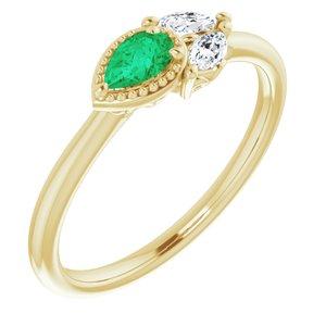 14K Yellow Emerald & 1/8 CTW Diamond Ring