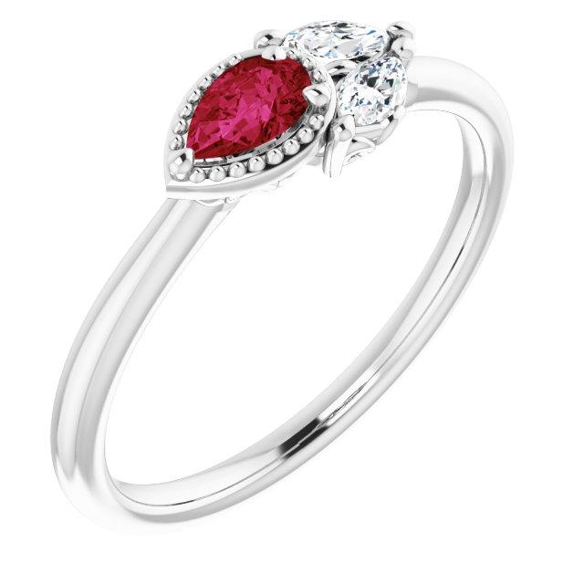 14K White Ruby & 1/8 CTW Diamond Ring