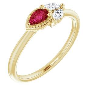 14K Yellow Ruby & 1/8 CTW Diamond Ring