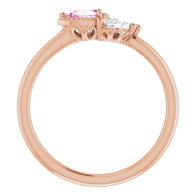 14K Rose Pink Sapphire & 1/8 CTW Diamond Ring