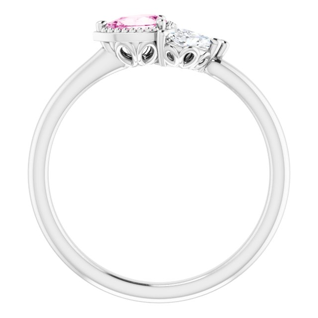14K White Pink Sapphire & 1/8 CTW Diamond Ring