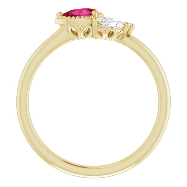14K Yellow Lab-Grown Ruby & 1/8 CTW Diamond Ring